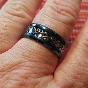 Other - MEN'S BLUE 316L STAINLESS STEEL RING W/SILVER ACC
